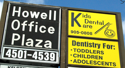 Office Sign for Dr. Felsenstein's Pediatric Dentist Office in Howell, NJ